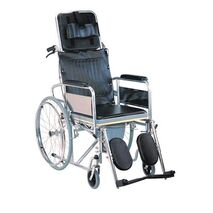 Aluminium wheelchair with reclining back and WC pot